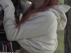 Redhead teeny fucked in a park