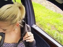 Blonde amateur hitchhiker bangs in car pov