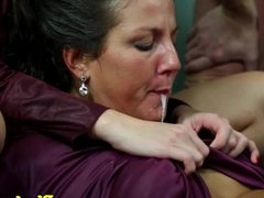 Pee fetish skanks swap jizz and pee