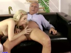 Classy babes share old mans cum