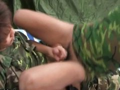 Military man getting head
