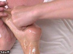 Blonde fucks masseur in reverse position