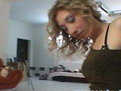 Curly hottie lapdances for horny stranger