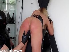Busty blond slave brutally fisted and squirts