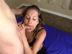 Lelu blowjob and cum in mouth swallow