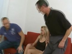 A guy sharing his chick with an old guy