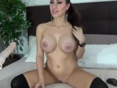 Big titted girl erotically fingers herself, a
