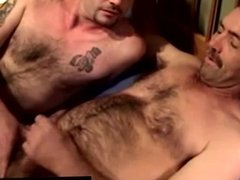 Masturbating gay guy receives a facial
