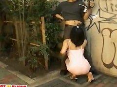 Asian Model busty sucks dick on street