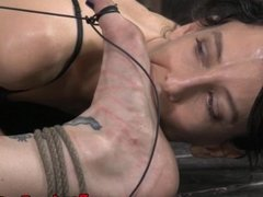 Tied up bondage slave Bella Rossi clit teased