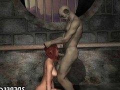 3D elf sucks a goblins cock