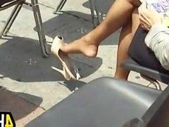 Dangling High Heels In Public