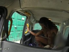 Black babe interracial fuck in cab
