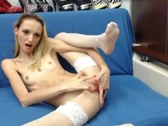 Unimaginable thin blond woman fingering
