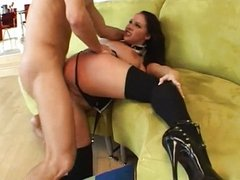 Gianna roughly fucked on couch