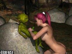 3D redhead jerks off Yoda
