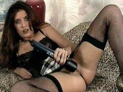 Vintage MILF in black underwear and stockings