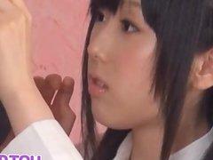 Machiko gets cum after fine blowjob