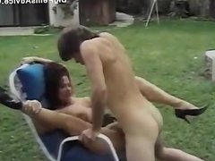 Retro outdoor fucking with hairy pussy babe