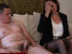 CFNM mistress makes tiny cock jizz
