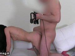 Slim amateur fucks on casting couch