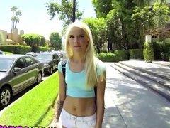 Petite hot blonde teen Halle Von fucks