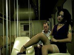 With sexual cute Kaylani Lei on a train