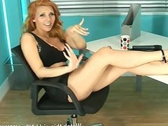 Sexy redhead Maddie Rose in the office