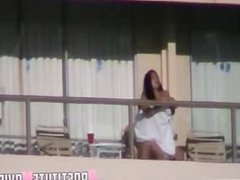 Sex on a balcony in ibiza