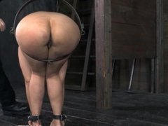 Restrained bdsm sub flogged roughly