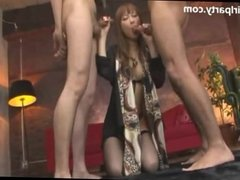 Busty Japanese Goddess Takes Cum From Two