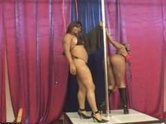 Ebony lesbian pole dancers