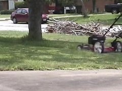 Lawn mower DuDE gets caught by neighbor!!!