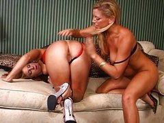Horny lesbians muff dive on each other