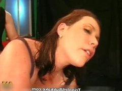 Busty brunette slut goes crazy sucking