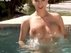 Outdoor pool fuck cumshot