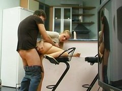 Sex on the kitchen with  russian beauty girl
