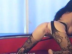 New girl Tasha Holz masturbating in stockings