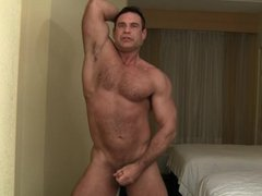 Jason strips,grunts and blows his load