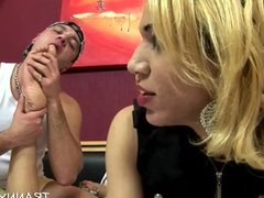 fetish guy swallows big cock tranny