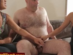 Dom babes pulling his his tiny cock