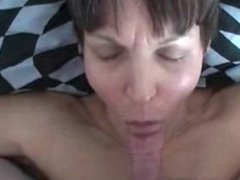 Mature wife has cowgirl sex with cum shot