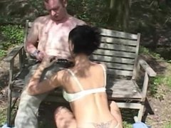 Sexy short haired brunette hummers horny dick