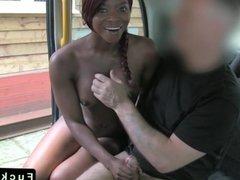 Redhead ebony interracial in fake taxi