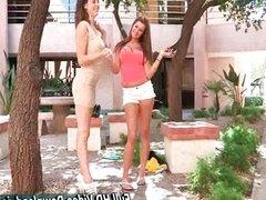 Girls Walk Down A Neighborhood