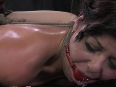 Ballgagged punished sub all tied up on the fl