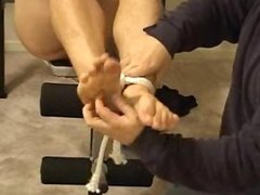 Straight Guy Tied & Tickled on Weight Bench