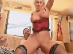 Milf slut on his couch fucked in the vagina