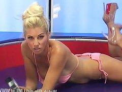 Sexy blonde sami j in pink bikini