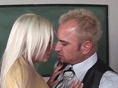 busty blonde fucks horny teacher